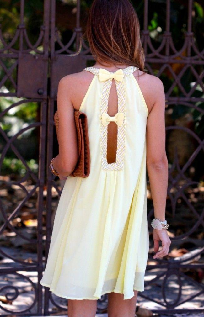 kuka, chic, light, yellow, bowed, open, back, layered