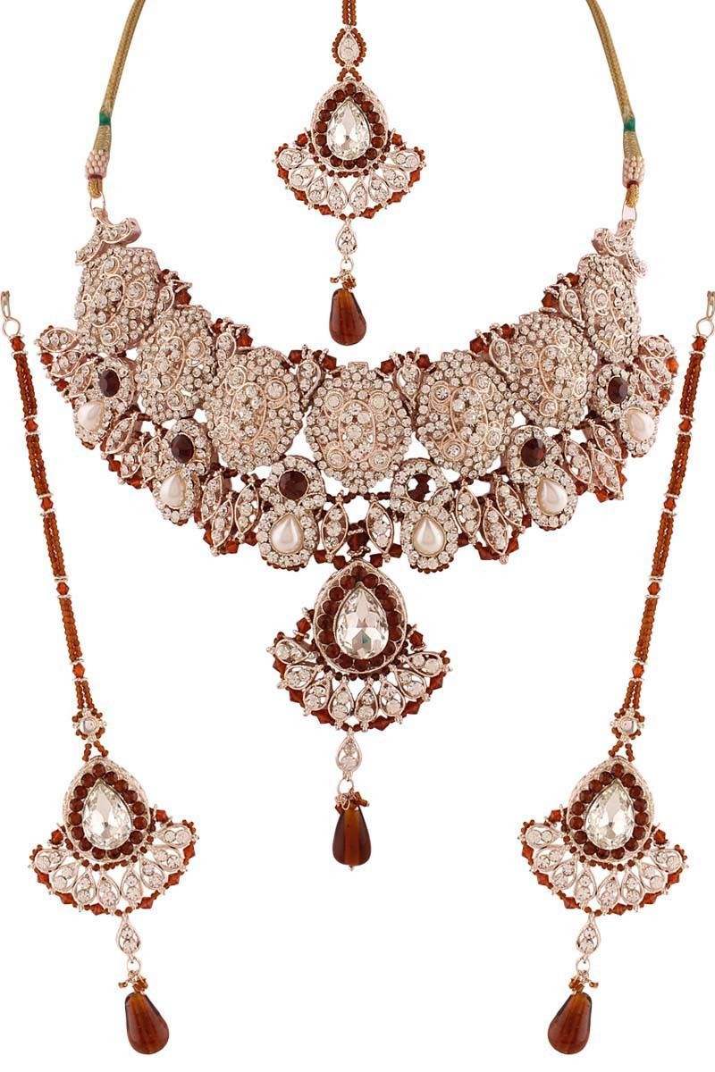 Brown silver plated austrian diamond necklace set колье