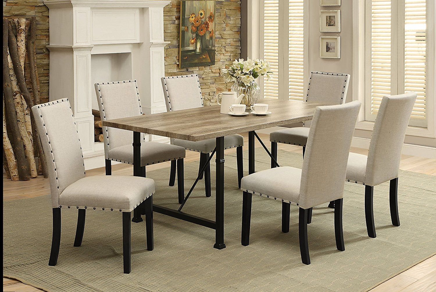 Dining room design with acme furniture oldlake dining table