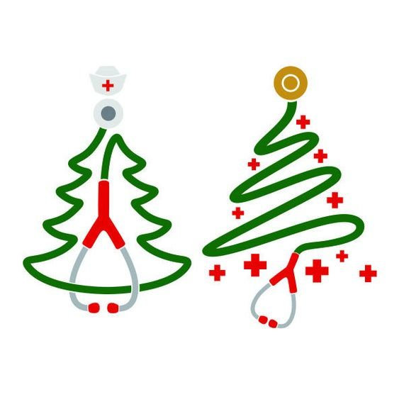Christmas Tree Doctor Nurse Cuttable Design Svg Png Dxf Eps Designs Cameo File Silhouette Christmas Tree Clipart Christmas Vinyl Nurse Christmas