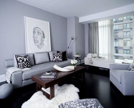 Black Hardwood Floor And Gray Color Scheme Repaint Living Room