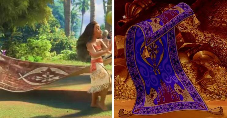 Did You Notice Aladdin S Carpet In Moana Aladdin Magic Carpet Disney Easter Eggs Disney Now