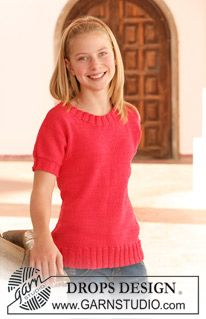 Drops Jumper With Short Sleeves In Muskat Size 7 14 Years Drops Design Knitting Girls Sweater Knitting Patterns Sweater Crochet Pattern