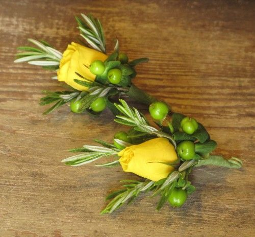 Vermont Wedding Flowers: Boutonnieres Of Yellow Spray Roses, Rosemary And Green