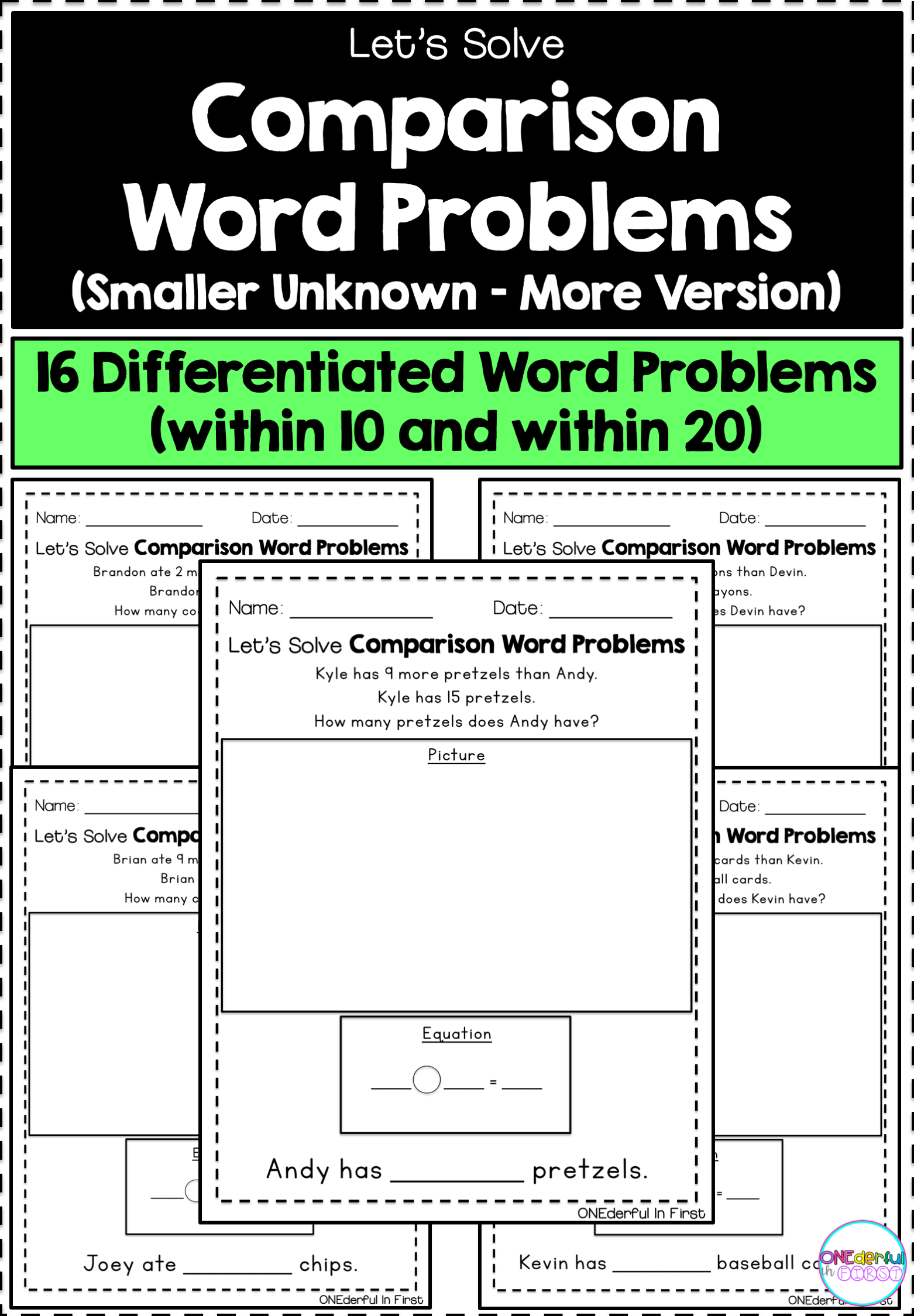 Comparison Word Problems Smaller Unknown