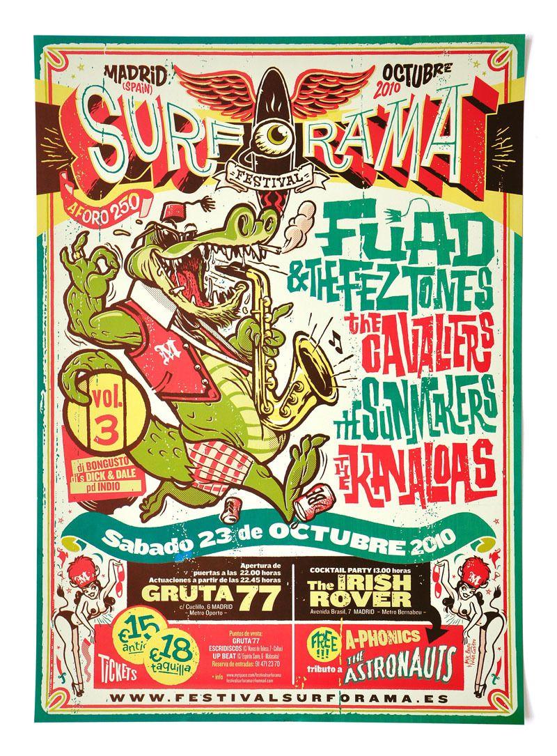 Surforama Madrid 2010. Cartel para un festival de música surf. En colaboración con Mik Baro. 0