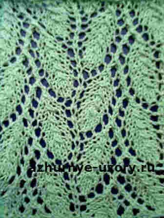 схемы вязания спицами листики ажурные