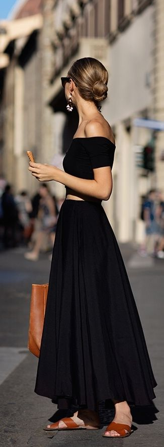 Perfect summer goodness; off the shoulder Nettie crop top and a full maxi skirt