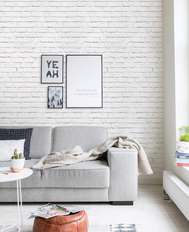 Modern Interior Design Ideas That Brighten Up Brick Walls With White Paint Whiteb White Brick Wallpaper Bedroom Brick Wallpaper Living Room Brick Wall Bedroom