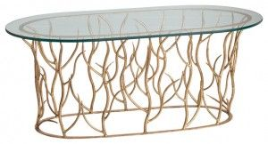 gold leaf glass top coffee table