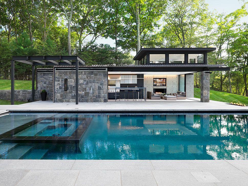 An Award Winning Modern Pool House The E List Pool Houses Pool House Designs Modern Pool House