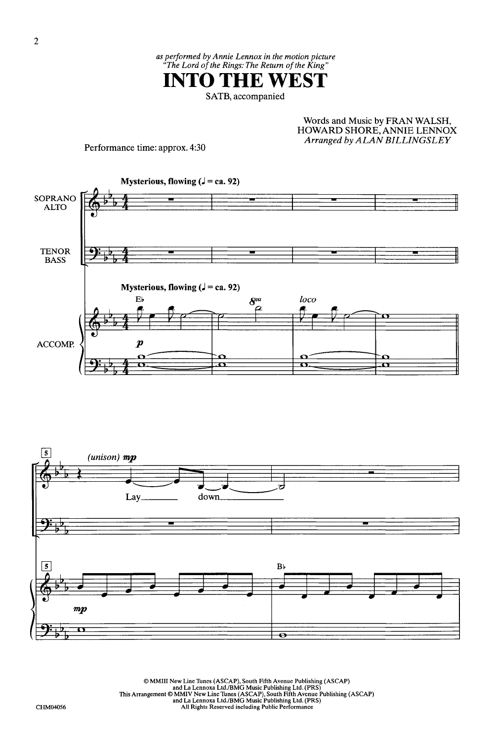 Into the West (SATB ) arr  Alan Billingsley| J W  Pepper