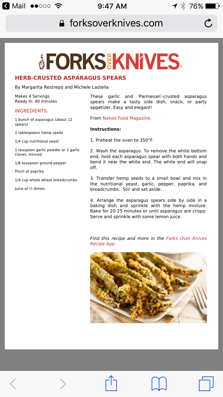 Herb Crusted Asparagus Spears Vegan Side Dishes Plant