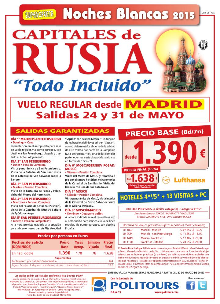 "Capitales de RUSIA ""Todo Incluido"" -Noches Blancas-, sal. 24 y 31/05 dsd Mad (8d/7n) p.f. dsd 1.638€ ultimo minuto - http://zocotours.com/capitales-de-rusia-todo-incluido-noches-blancas-sal-24-y-3105-dsd-mad-8d7n-p-f-dsd-1-638e-ultimo-minuto/"