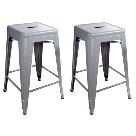 Amerihome Loft Red 24 Inch Metal Bar Stool Silver Set Of 2