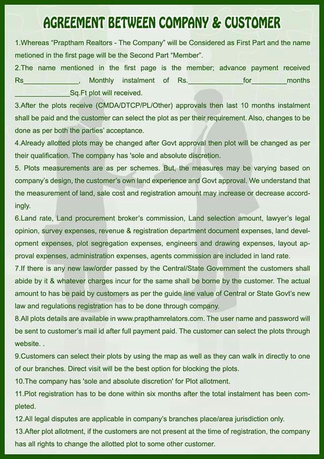 Business Rules And Regulations Of Agreement Details Of Plot