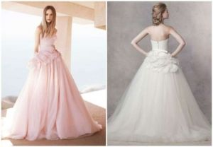 ivory strapless ball gown with satin corset bodice style