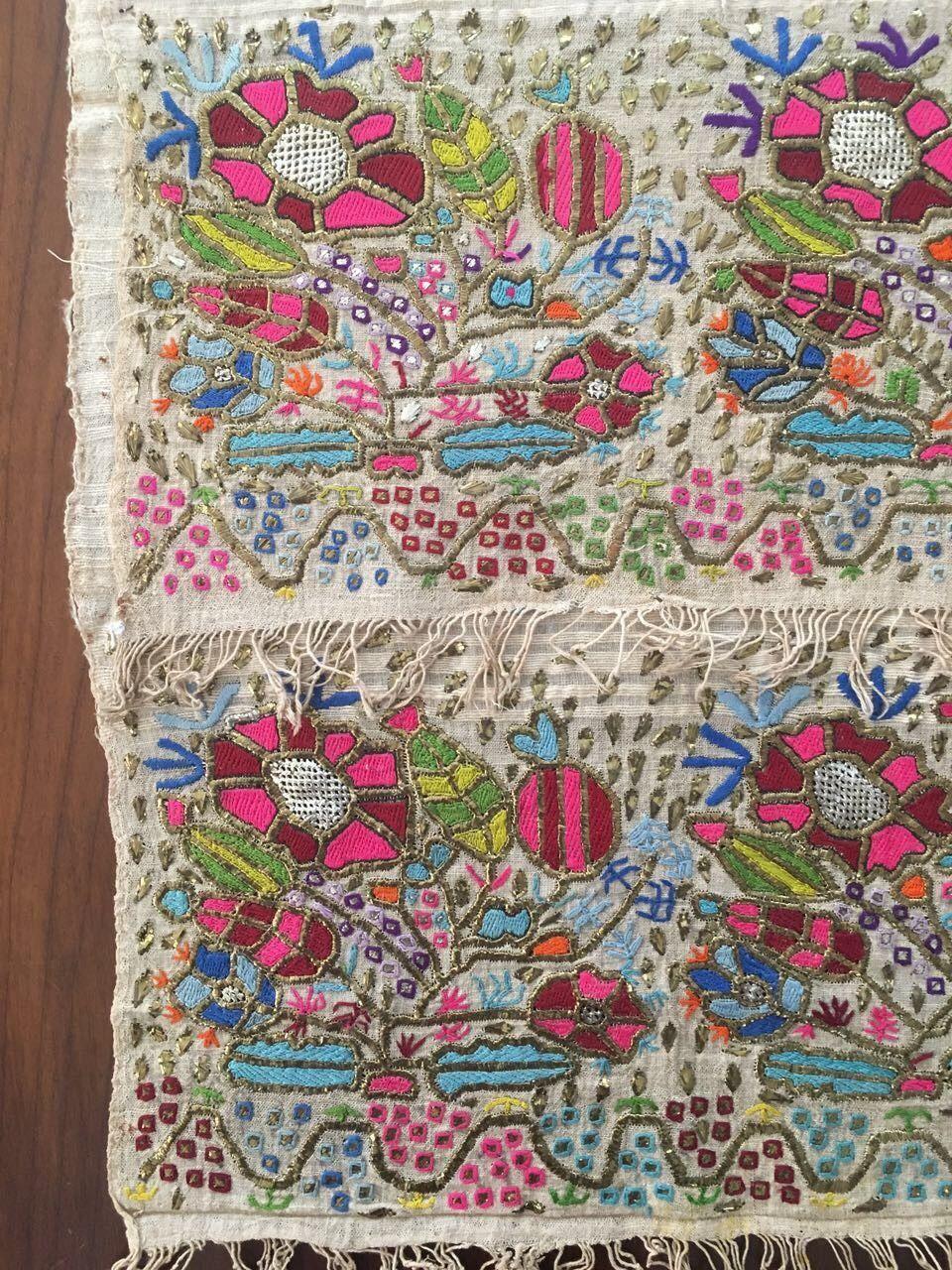 Antique Ottoman Turkish Silk Gold Metallic Hand Embroidery On