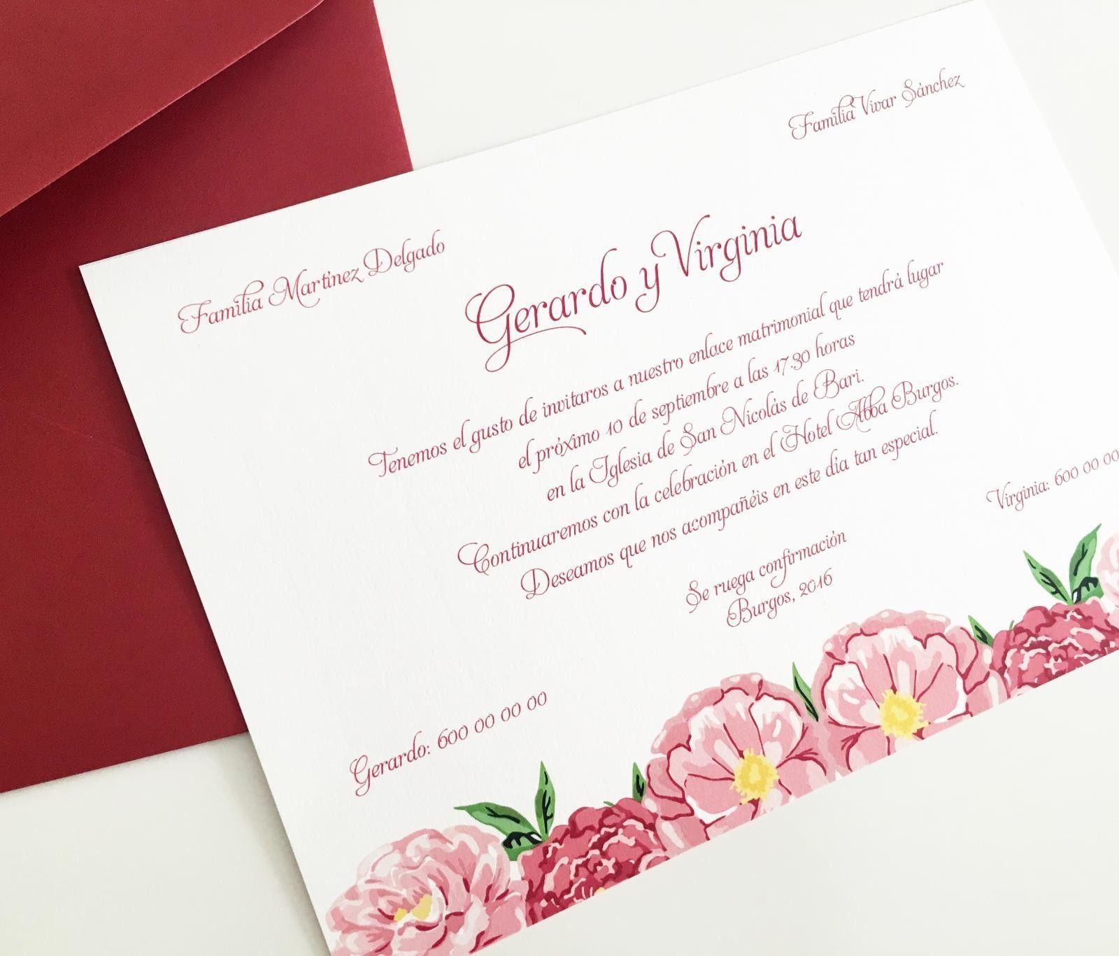 Invitaci³n Fleur Classique con flores rosas ilustradas y sobre