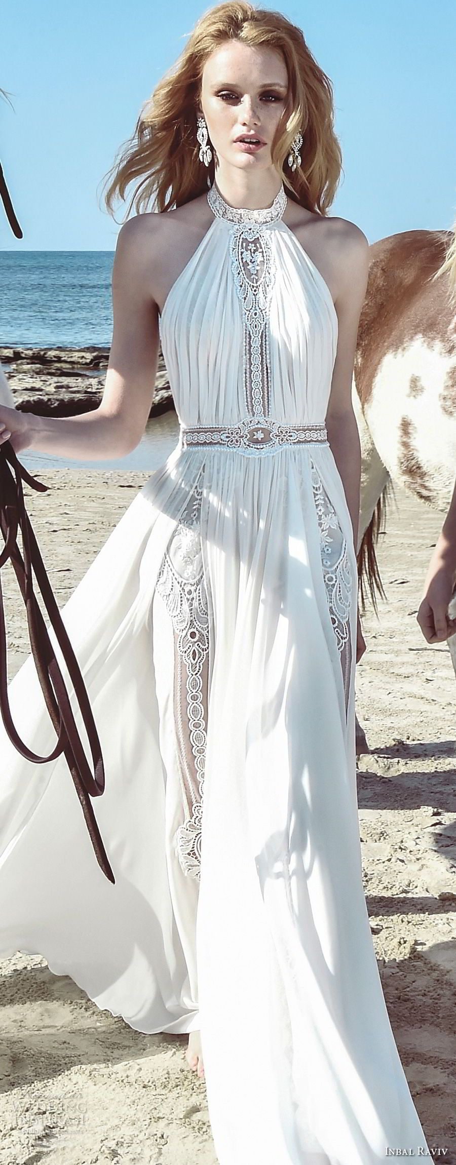 inbal raviv 2017 bridal sleeveless halter neck ruched bodice ...