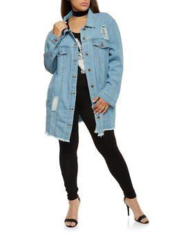 6e0bd83d3b48 Plus Size Oversized Distressed Denim Jacket - 3876072290616 | My ...