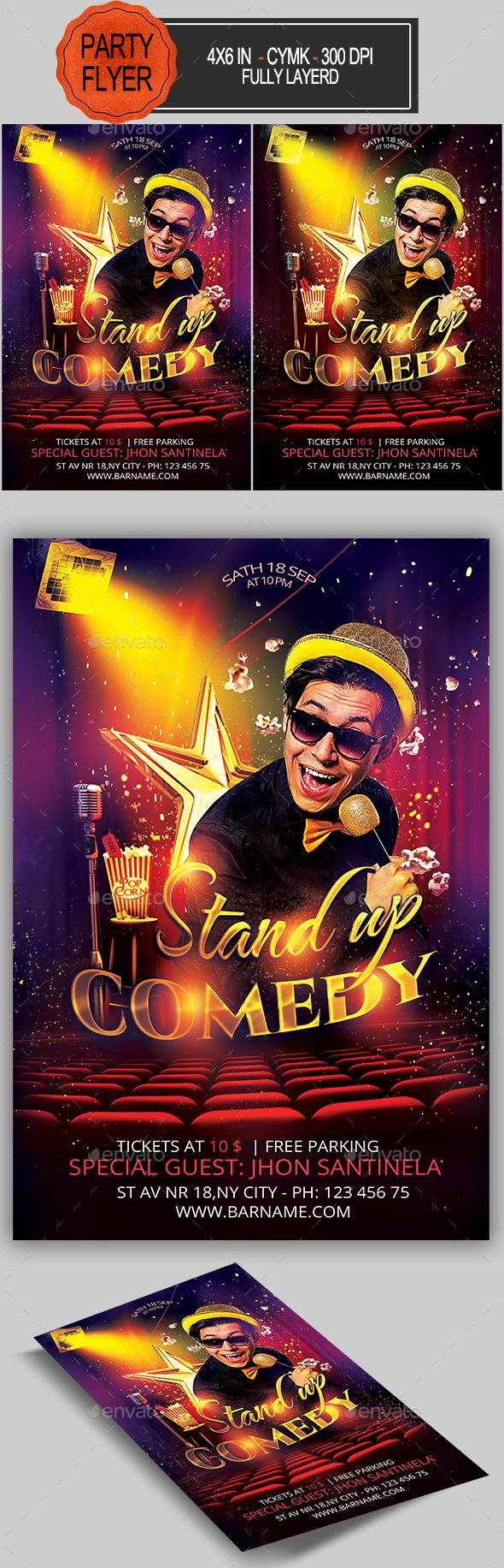 Comedy Flyer Template Pdf Topsimages