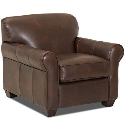 Wayfair Custom Upholstery Jennifer Leather Club Chair Upholstery: Steamboat  Driftwood, Leather Type: Leather