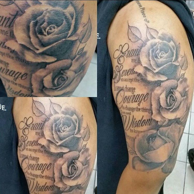 Shoulder Tattoo Quote Ribcage Serenity Prayer: Serenity Prayer With Roses Tattoo By #chicagotattooartist