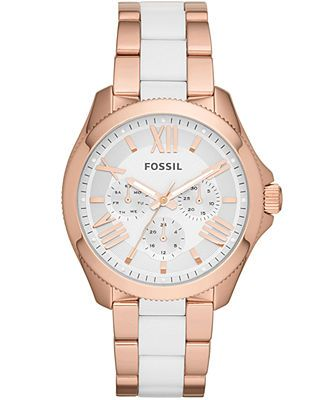 Fossil Women's Cecile White and Rose Gold-Tone Stainless Steel Bracelet Watch 40mm AM4546
