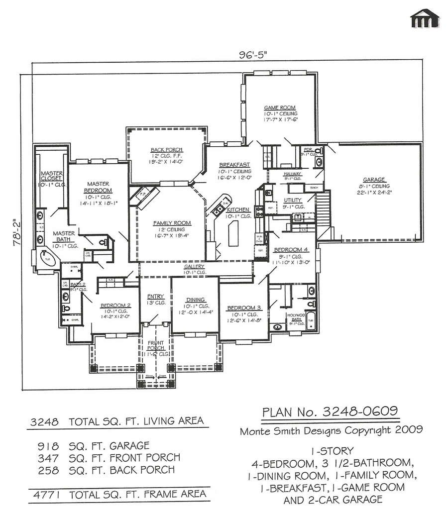 Narrow Lot House Plans · 1 Story, 4 Bedroom, 3.5 Bathroom, 1 Dining Room, 1  Family Room Part 46