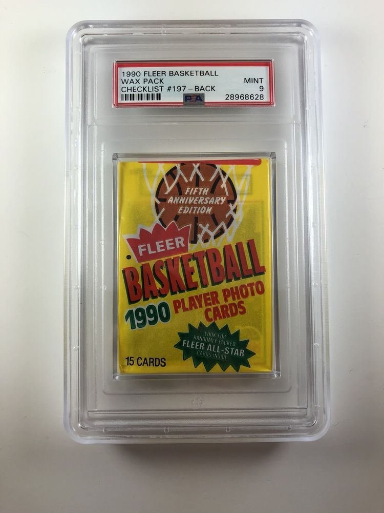 PSA 9 1990 Fleer Basketball Wax Pack With Checklist 197 On