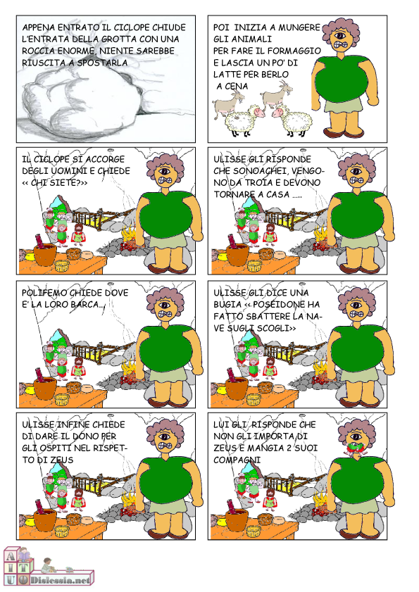 Odissea A Fumetti 1ª Media Aiutodislessia Net Attivita Artistiche Per Bambini Scuola Media Letteratura Classica
