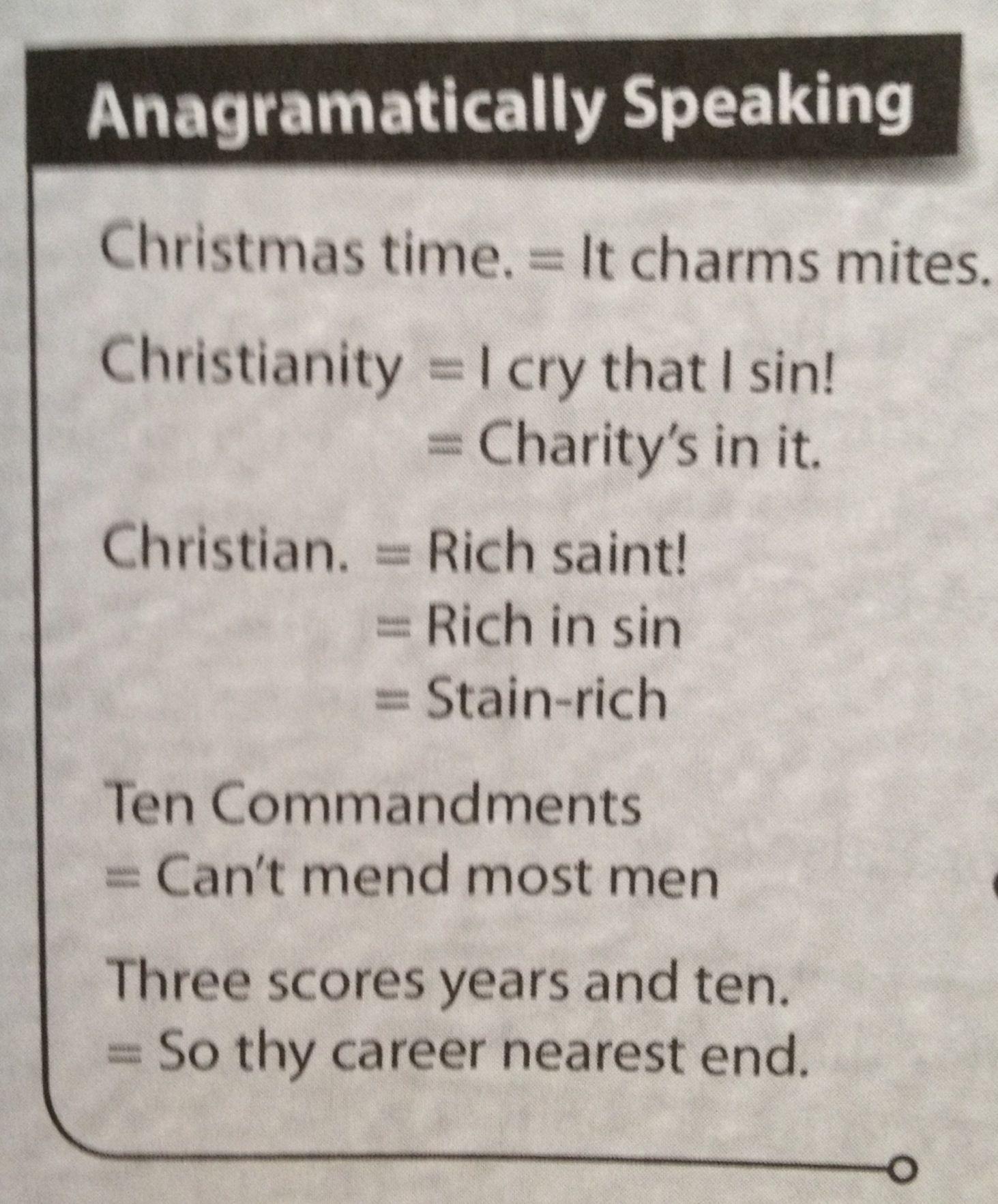 Christmas Anagrams Wordplay Christmas Christianity God