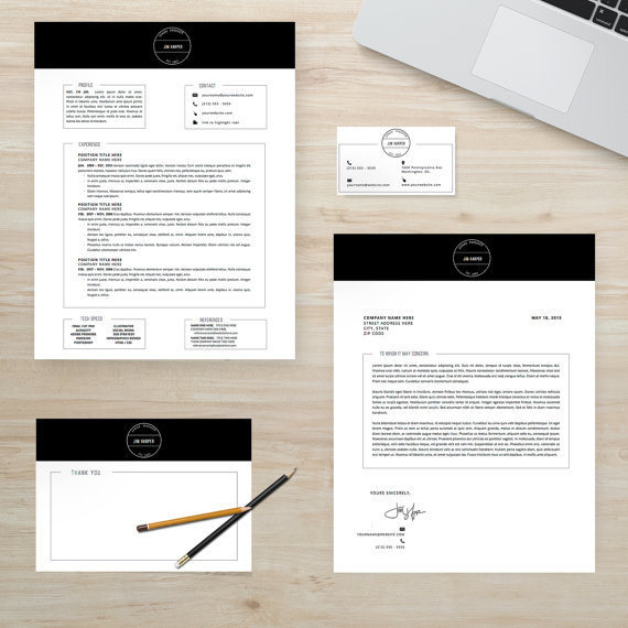Modern Resume Cover Letter Business Card Thank You by ResumeLab - resume business cards
