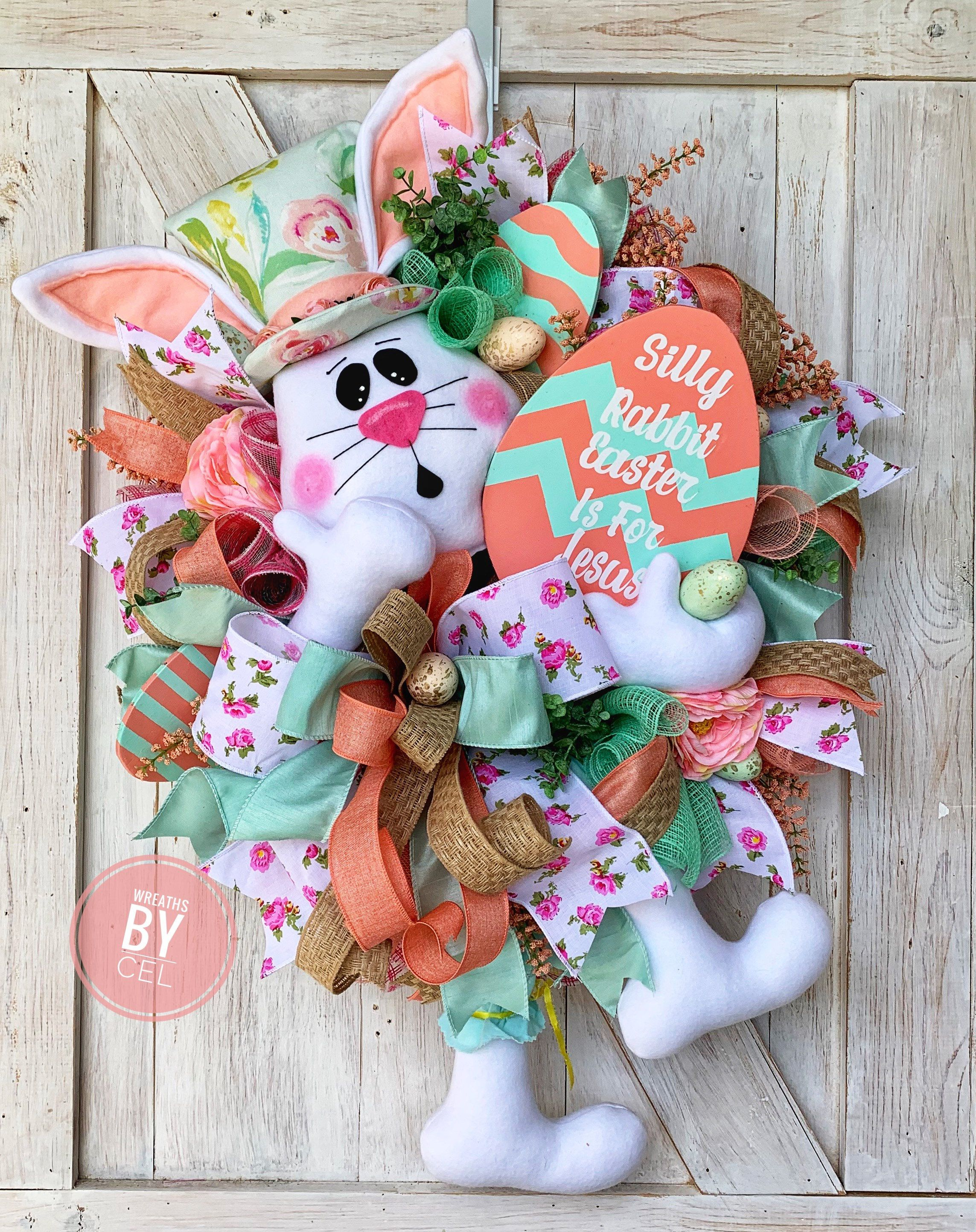 Photo of Easter Wreath, Easter Wreath for Front Door, Spring Wreath, Easter Bunny Wreath, Silly Rabbit Easter Is For Jesus, Easter Rabbit Wreath