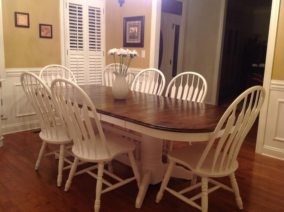 Refurbished Dinning Room Table With Annie Sloan Pure White