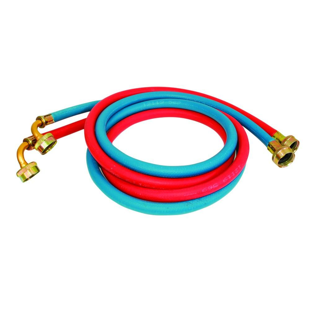 Eastman 3 4 In X 3 4 In X 6 Ft Rubber Washing Machine Hose With Elbows 2 Pack Red And Blue In 2020 Washing Machine Hose Washing Machine Home Depot