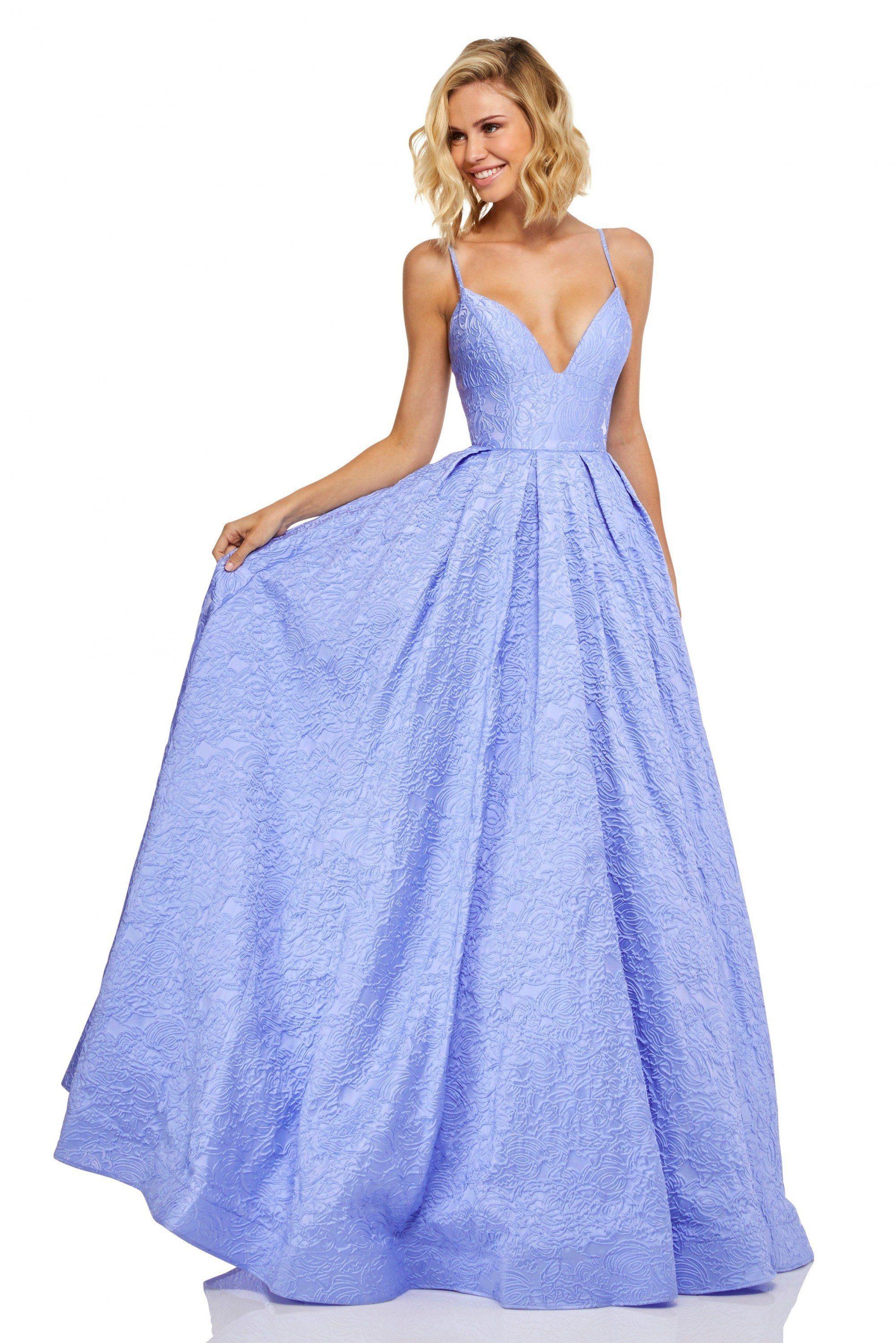 Sherri Hill 52641 Deep V Neck Pleated A Line Dress Sherri Hill Dresses Sherri Hill Prom Dresses Designer Prom Dresses [ 2998 x 2000 Pixel ]