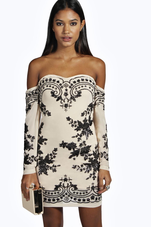 Boutique Eva Embellished Off Shoulder Dress | Shoulder dress ...