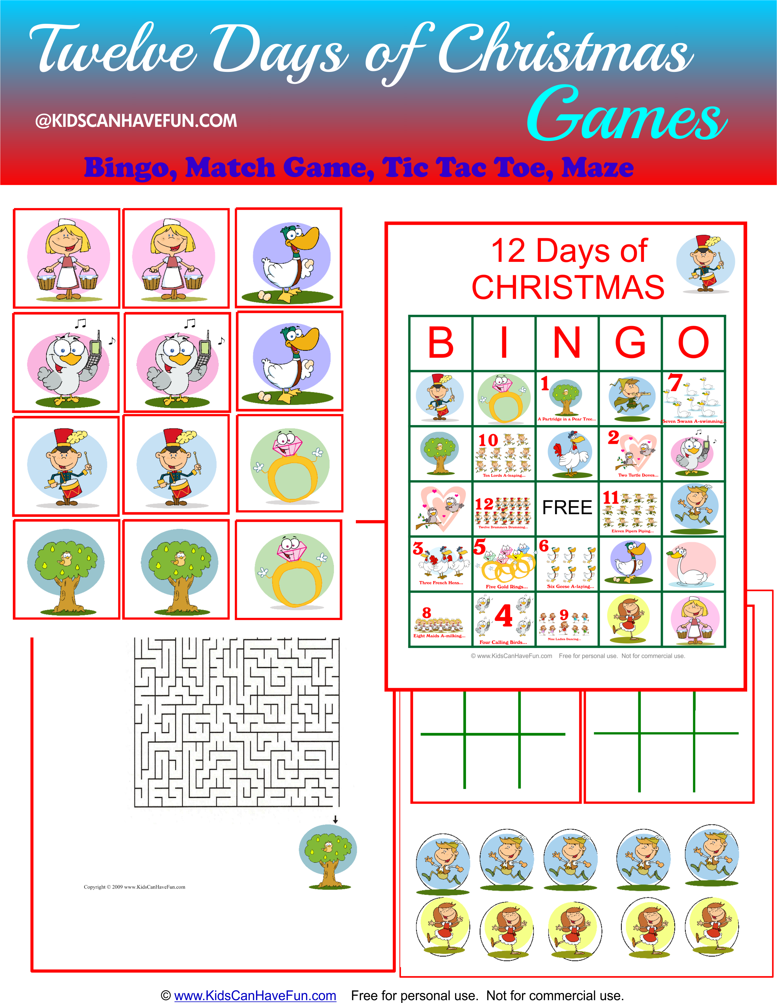 Twelve Days Of Christmas Games With Fun Characters