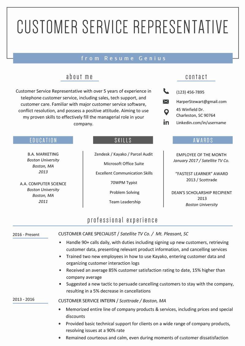 Customer service sales resume best of customer service