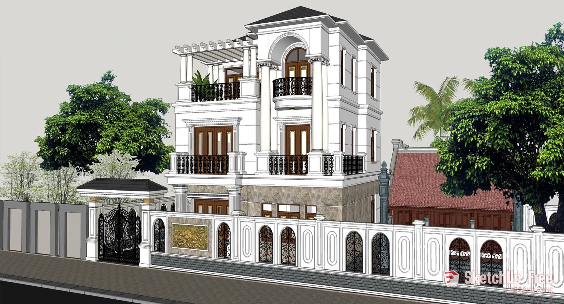 2077 Exterior Neoclassical Villa Scene Sketchup Model Free