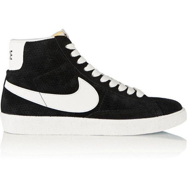 Nike Blazer perforated suede high-top sneakers (€98) ❤ liked on Polyvore featuring shoes, sneakers, black, flats, nike, black suede sneakers, grip trainer, black flat shoes, lace up flats and nike shoes