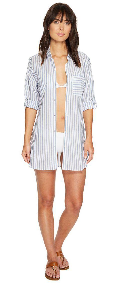 699d152ea321d Tommy Bahama Ticking Stripe Boyfriend Shirt Cover-Up (White) Women s  Swimwear - Tommy