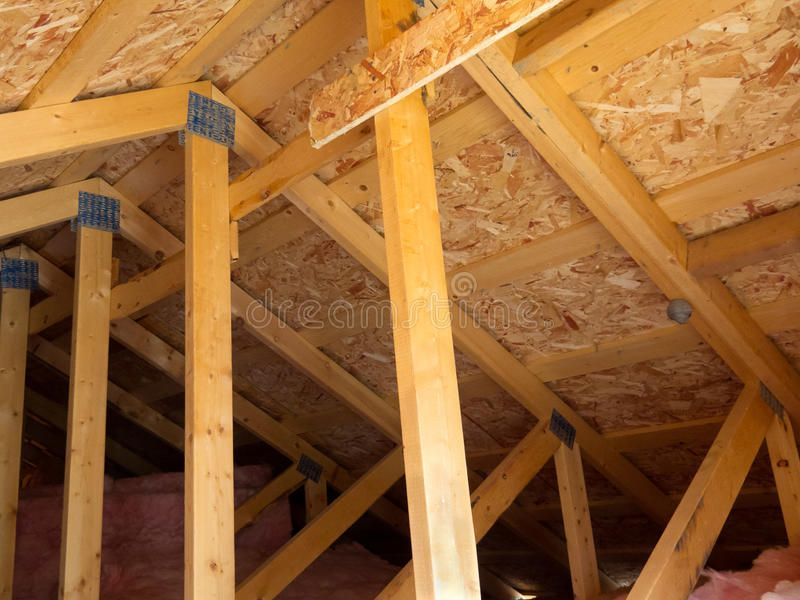 Insulated Attic From Trusses Attic Formed By Trusses Osb Boards And Fiberglass Ad Attic Formed Osb Insulated Attic Ventilation Roofing Attic Truss