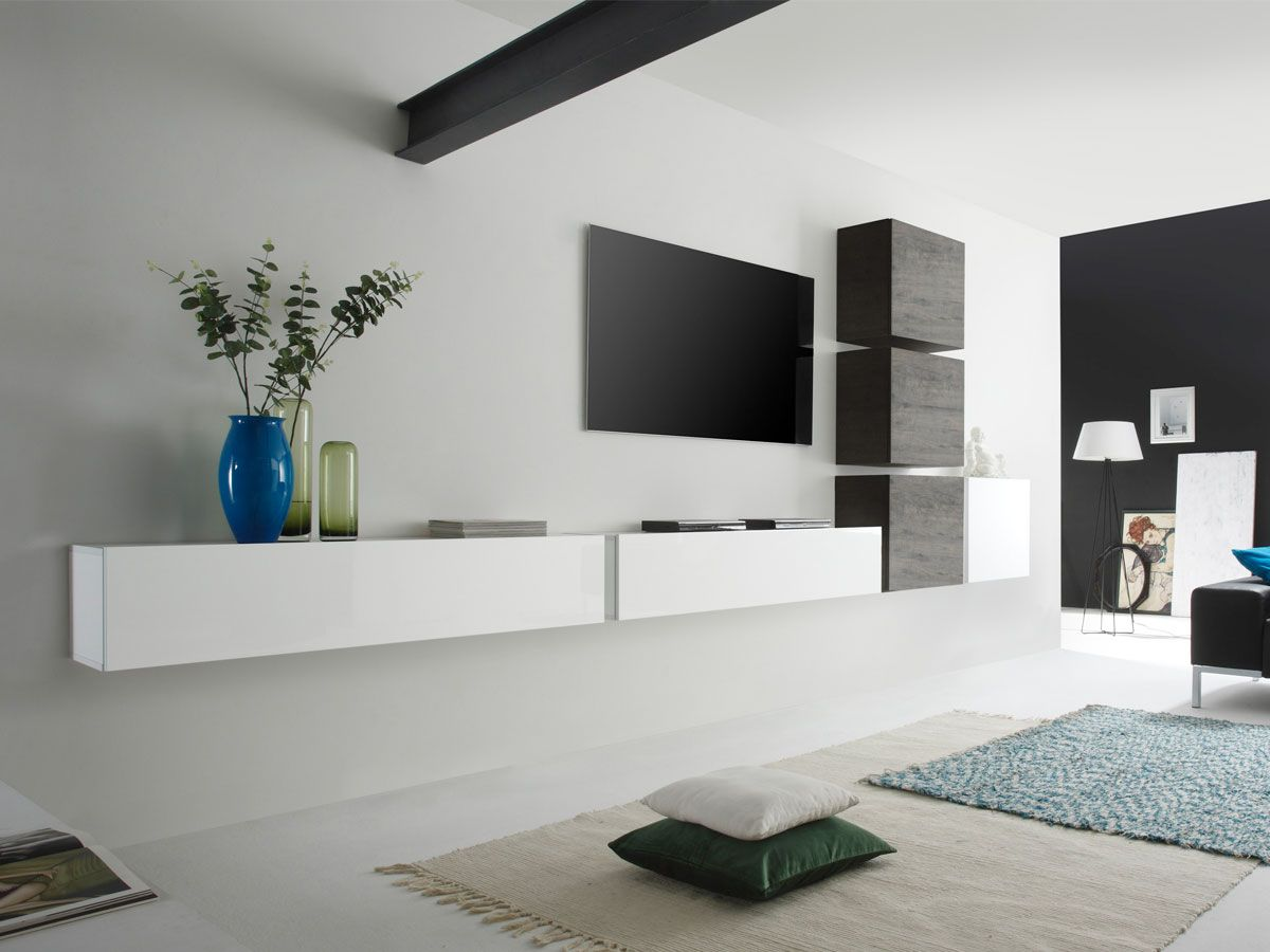 Wohnwände Billig Casino 7 Wohnwand Weiß/eiche Wenge | Wall Unit, Living Room Tv Wall, Living Room Designs