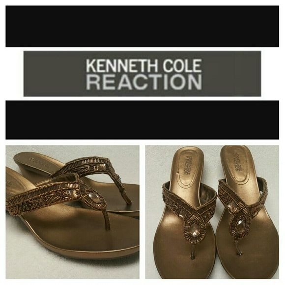 Kenneth Cole Reaction Gorgeous brown beaded flip flops with slight wedge.   Worn only a couple times. Great for every day use, night out or a day at the office! Kenneth Cole Reaction Shoes Sandals