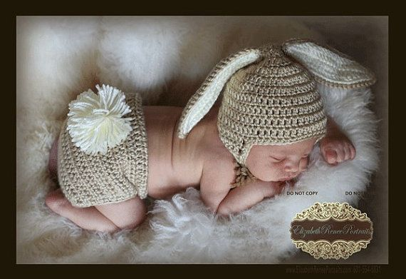 13c72d69168 PDF PATTERN for Crocheted Baby Easter Bunny Hat and Diaper Cover set  Instructions for newborn to 12 months Sell what you make