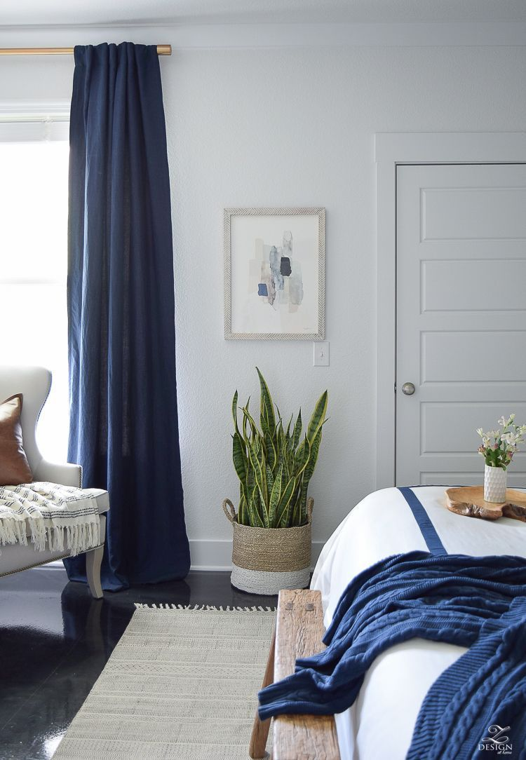 Bed against window with curtains  minted abstract art bedroom reveal navy linen curtains with blackout