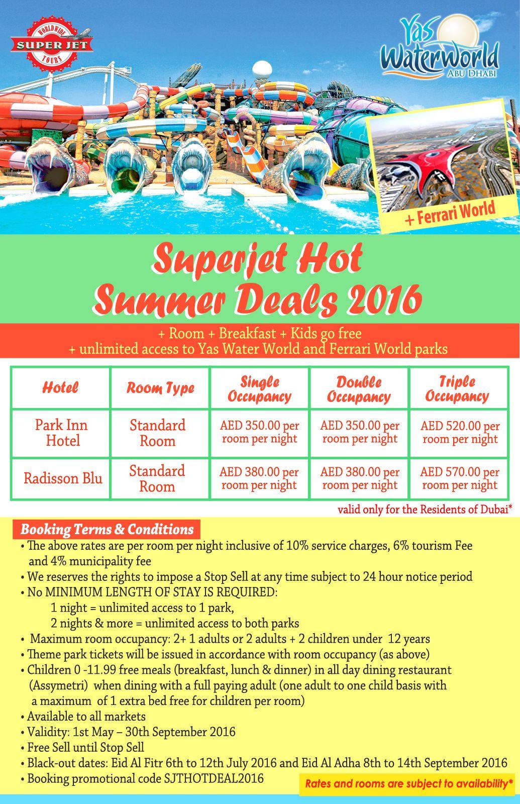 Enjoy Superjet Hot Summer Deals With Yas Water World And Ferrari World Free Tickets Dubai Yaswaterworld Ferrariwor Ferrari World Kids Go Free Summer Deals